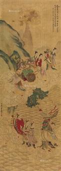 道释人物 镜片 绢本设色 by ding yunpeng