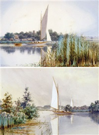 the bure near wroxham broad; early morning, horning church (pair) by stephen john batchelder