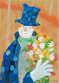 clown with bouquet by lennart jirlow