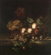 peaches and apples in an upturned basket with grapes and plums on a marble ledge by willem frederik van royen