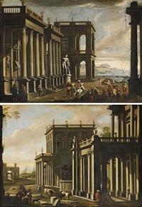 veduta architettonica con figure e marina (+ veduta architettonica con figure e mucche; pair) by alessandro salucci