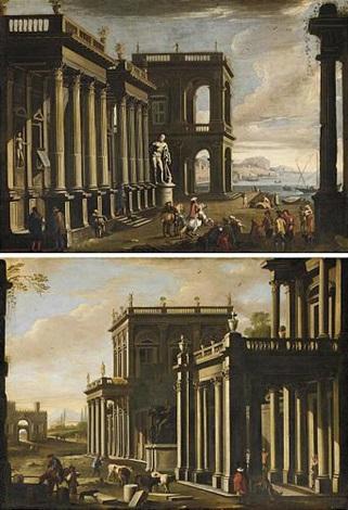 veduta architettonica con figure e marina veduta architettonica con figure e mucche pair by alessandro salucci