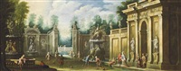 an architectural capriccio with elegant company playing a game by giovanni paolo panini