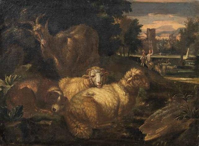 gregge con cagnolino in un paesaggio con borgo sullo sfondo by philipp peter roos