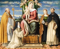 the holy family enthroned with saints dominic, cecilia, augustine and a dominican nun by girolamo da santacroce
