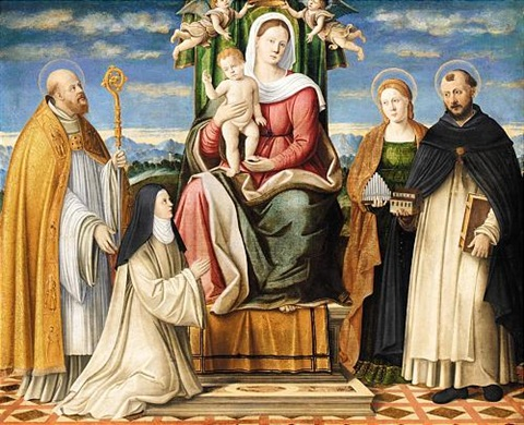 the holy family enthroned with saints dominic cecilia augustine and a dominican nun by girolamo da santacroce