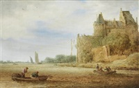 a river landscape with fishermen in boats and a walled town in the distance by jan coelenbier