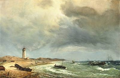 fishermen on skagen beach with det hvide fyr the white lighthouse in the background by daniel hermann anton melbye