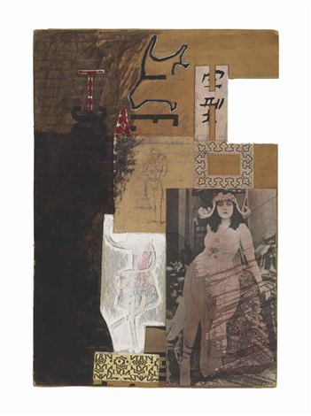 untitled (moticos with silent film star) by ray johnson