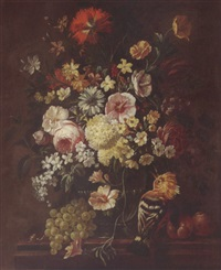 a still life of roses, carnations, daisies, morning glory, camelias and lilacs in a glass vase, together with a hoopoe, grapes, peaches and a snail by philips van kouwenberg