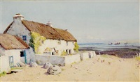 thatched cottages along coast (+ another; pair) by john mcdougal