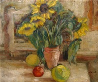 interior with sunflowers by zvi shor