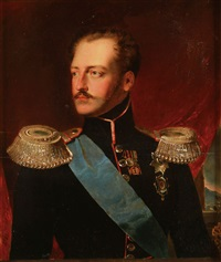portrait of tsar nicholas i in red piped uniform wearing the sash of the order of st. george by franz eybl