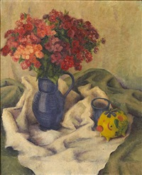 white drape (+ the blue vase; 2 works) by milvia w. boak