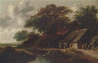 peasants resting before a riverside cottage by gillis rombouts