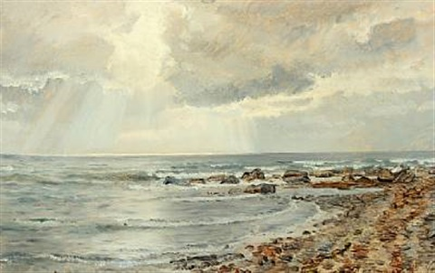 coastal scenery with the sun shining through the clouds by janus andreas barthotin la cour