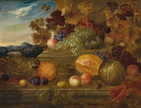 still life of fruit and bird's nest by james charles ward