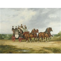 portrait of the mcdougald family riding in a coach-in-four by raoul millais