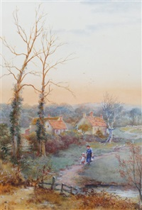 figures and birds in a landscape by james john hill