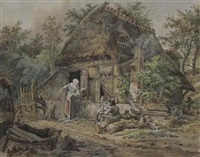 a peasant family at their farm amongst woods by pieter barbiers bartholomeusz