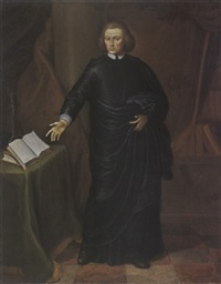 a portrait of a cleric, wearing a black robe with white cuffs and collar, pointing towards a book on a table by gerard wigmana