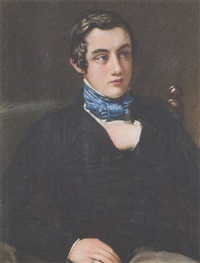 colonel william stuart as a young man, left hand tucked inside his black coat, wearing white chemise, grey trousers, and tied blue stock by charles j. basebe