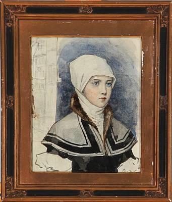 young girl in a renaissance dress study by albert edelfelt