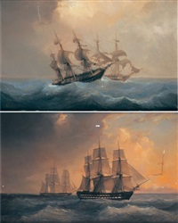 navires sur une mer agitée (+ another, similar; pair) by barthélemy lauvergne