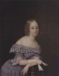 a lady, her blonde hair in ringlets, leaning on the back of a chair draped with embroidered shawl, wearing blue-mauve dress with white lace collar and cuffs, a white glove on her right hand by jean pierre robelot