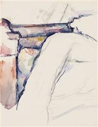 lit défait (+ arbres au dessus d'un ruisseau, verso) by paul cézanne