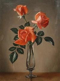 three red roses in a vase by james noble