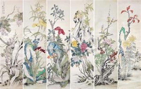 花卉 in 6 parts by huang shanshou