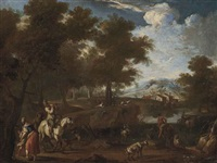 a wooded river landscape with drovers and a minstrel on a track by paolo monaldi