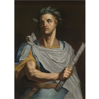 portrait of julius caesar wearing a laurel wreath and holding a baton by bernardino campi