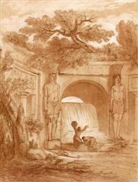 deux femmes puisant de l'eau d'une cascade by pierre lelu