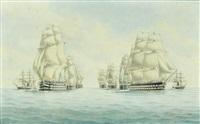 l'escadre de l'atlantique accompagnée de deux avisios à aubes faisant route sous grandes voilures by eugene grandin