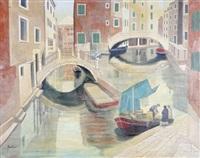 venedig - blick auf einen kanal mit gemüsehändlerboot, brücken und häuser by gaetano gross