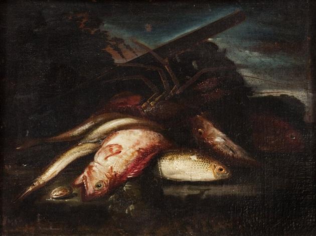 aragosta dentice aguglie e altri pesci su un piano con paesaggio sullo sfondo by elena recco