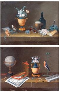 cartes mappemonde, fleurs dans un pot et oiseaux perchés (+ fleurs dans une urne, bouteille, radis et miche de pain; 2 works) by lelong