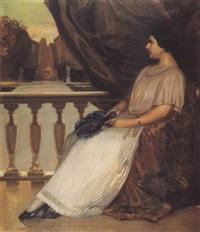 retrato de dama con abanico by salvador tuset