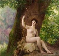 portrait de femme en diane chasseresse by gustave claude etienne courtois