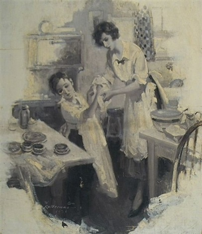 boy drying his hands with mothers help while helping in the kitchen illus for pictorial review by walter g ratterman