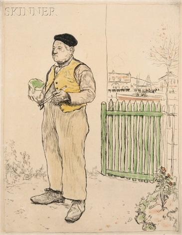 le bon homme venant de peindre sa barrière by jean françois raffaëlli