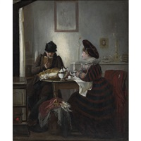 couple at teatime with sleeping cat by louis alex valere de pellicot