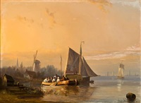 a river scene at dusk by egidius linnig