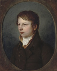 portrait of a boy (moritz schultze?) in a brown coat by christian leberecht vogel