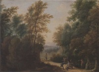 brigands ambushing travellers on a country path by gaspar de witte