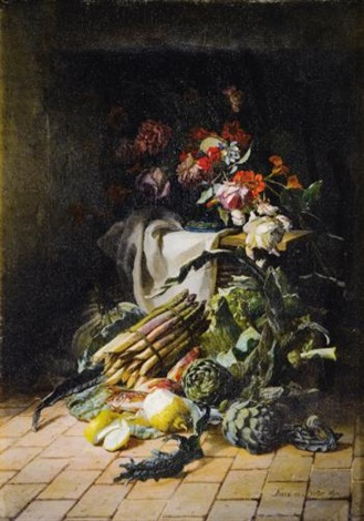 nature morte aux asperges et artichauts by david emile joseph de noter