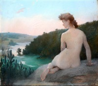 nue dans un paysage by hubert de la rochefoucauld