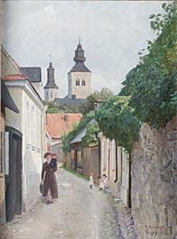 stadsvy från visby by herman lindqvist